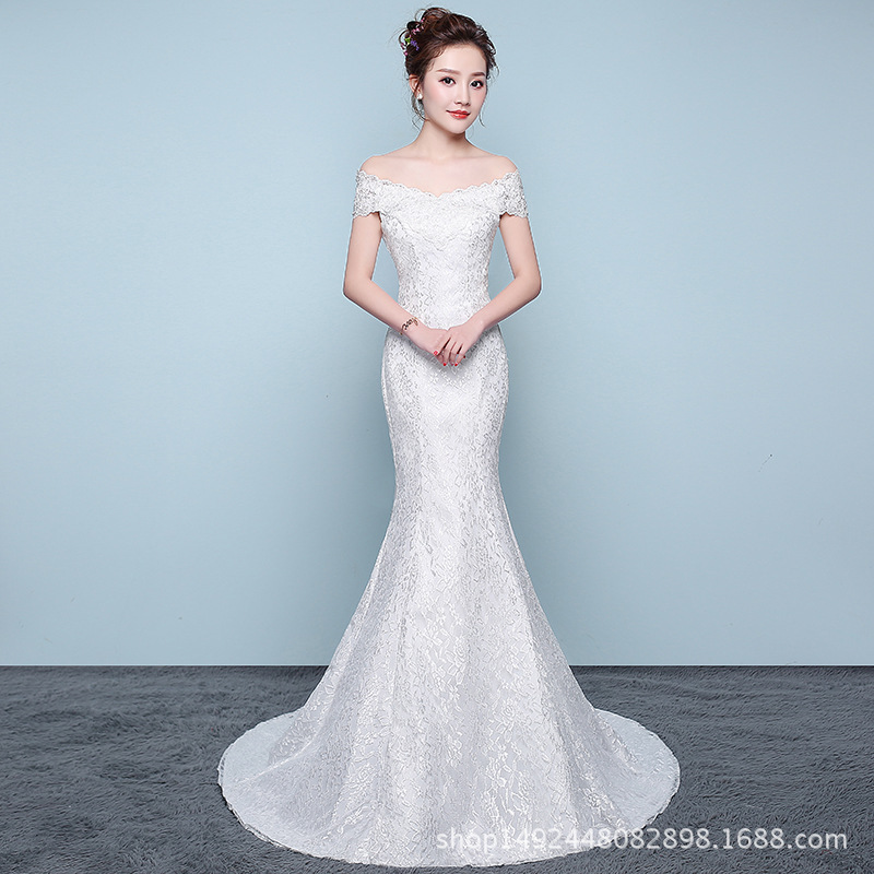 Wedding-Dresses Mermaid Train Tulle Lace-Up Appliques Neck-Off-The-Shoulder Luxury Boat
