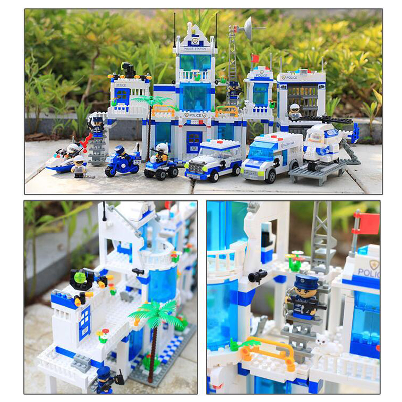 kazi city police station swat helicopter speedboat diy model building kits education toys for children festival gift for friends Police Station 1285 Pcs Model building kits Compatible with lego City 3D blocks Educational  toys hobbies for children