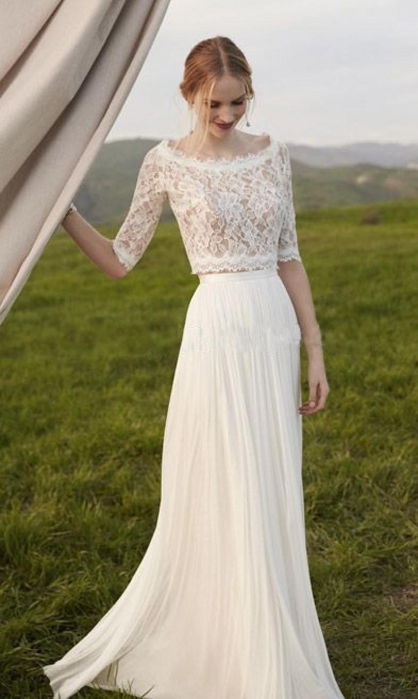 Simple fall winter style two pieces beach wedding dress for Winter wedding guest dresses with sleeves