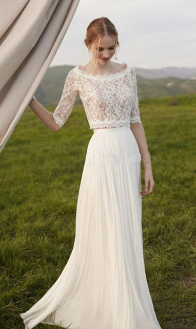 Simple Fall Winter Style Two Pieces Beach Wedding Dress Half Sleeve Lace Brdial Gowns Flowing Chiffon