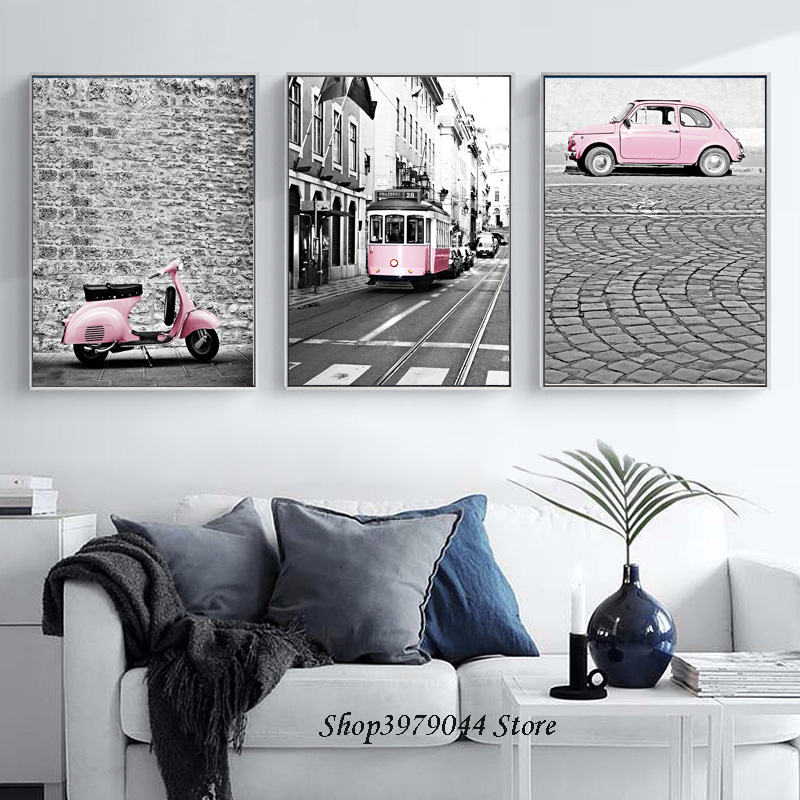 Poster Nordic Decoration Home Decor Pink Girl Car Poster Train Canvas Art Print Painting Wall Pictures For Living Room Unframed