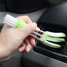 2In1 Green Car Air Conditioner Outlet Kotoran Duster Cleaner Sikat Mobil AC Ventilasi Blinds Cleaning Sikat Aksesoris Mobil(China)