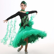 Children's modern dance competition dress girls Embroidery flower standard ballroom tango waltz dance dress practice costumes