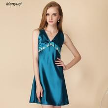 Women s silk nightgown babydoll sexy lace nightdress women sleepwear slip chemise back embroidered women nightgowns