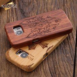 Kisscase pour samsung galaxy s7 s6 edge rétro bambou splice cerise naturel bois sculpté case pour iphone 6 6s plus 5 5S coquilles capa