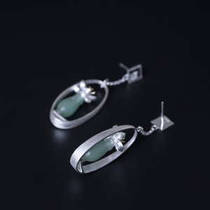 Image 3 - Flyleaf Natural jade Gold Flower Drop Earrings For Women 100% 925 Sterling Silver Chinese Style Vintage Jewelry