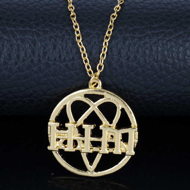 Najnowsza biżuteria zespół rockowy jego piekielny majestat naszyjnik H.I.M Logo okrągły Hollow wisiorki naszyjniki łańcuch Charms Choker naszyjnik