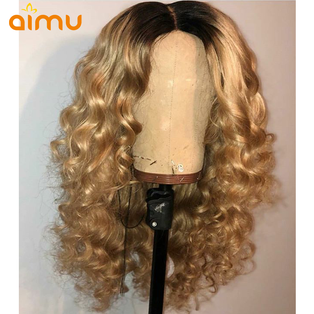 Aimu Hair 13x6 Deep Part Loose Wave Wig For Women Ombre Lace Front Wig 1b/27 Honey Blonde Lace Front Human Hair Wavy Wigs