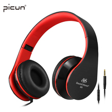 Picun I60 Wired Headphones with Microphone Stereo Headset Bass Big Earphone for PC Laptop Android phone MP3