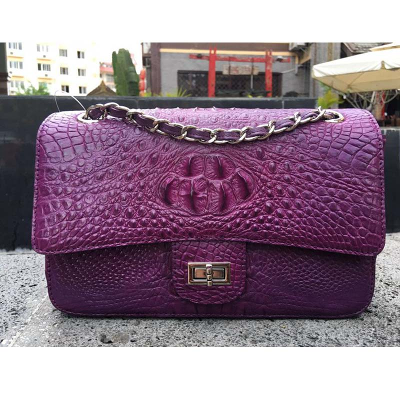 yongliang Crocodile skin ladies single shoulder women chain bag large skull handbag shoulder fashion yuanyu real snake skin women bag new decorative pattern women chain bag fashion inclined single shoulder women bag