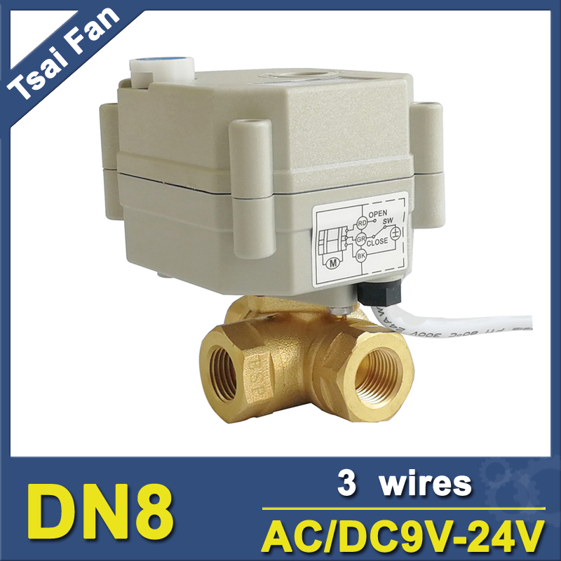 c7dde69a TF8-BH3-B Brass 1/4'' DN8 Horizontal 3 Way Electric Actuated Ball Valve T/L  Type AC/DC 9V, 12V, 24V 3/7 Wires Metal Gear