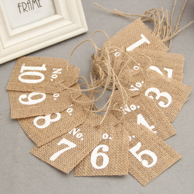1set=10pcs jute Hessian burlap table Number cards from 1 to10 ...