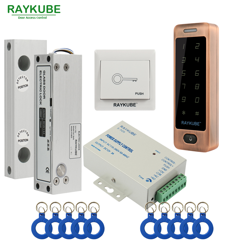 RAYKUBE Glass Door Access Control Kit Electric Bolt Lock + Touch Metal RFID Reader Access Control Keypad Frameless Glass Door metal rfid em card reader ip68 waterproof metal standalone door lock access control system with keypad 2000 card users capacity