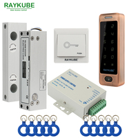 RAYKUBE Glass Door Access Control Kit Electric Bolt Lock + Touch Metal RFID Reader Access Control Keypad Frameless Glass Door