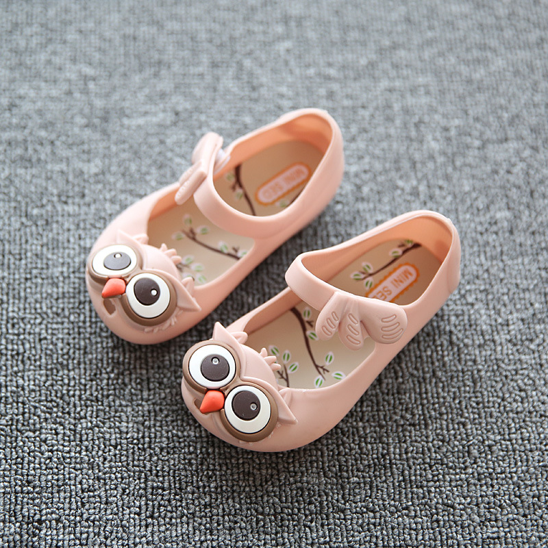MINI SED Kids Sandals Girls Shoes Cute Cartoon Owl Girls Sandals Children Jelly Shoes PVC Soft