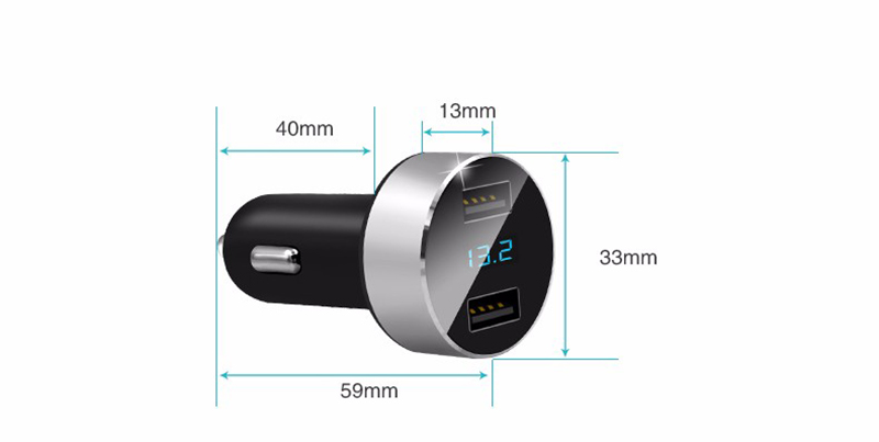 Mini Dual USB Car Charger with LED Display Voltage Detection for Renault clio megane 2 captur logan kadjar laguna fluence duster