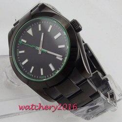 Nowy przyjeżdża 40mm BLIGER czarny sterylny tarcza PVD powlekany solidnym zapięciem luksusowej marki mechanizm automatyczny męski zegarek