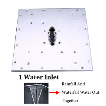 Double Head Shower | Double Waterfall Black Shower Head Rainfall 10 Inch Square Showerhead 1 Water Outlet Solid Brass Bathroom Douche Accessories SPA