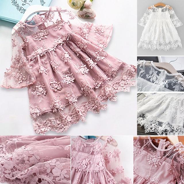 2019 קיץ ילדה בגדי ילדים שמלות בנות תחרה פרח שמלת תינוקת מסיבת חתונה שמלת ילדי ילדה נסיכת שמלה