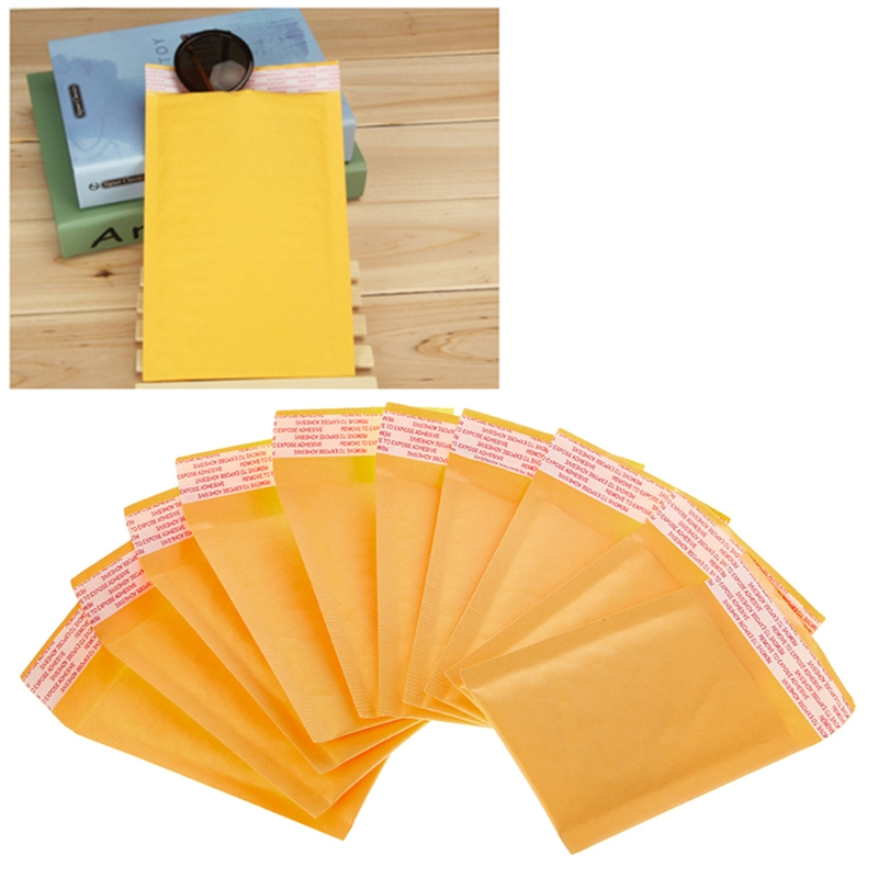 10 Pcs Kraft Bubble Mailers Yellow Padded Mailing Bags Paper Shipping Envelopes  	Paper Envelope
