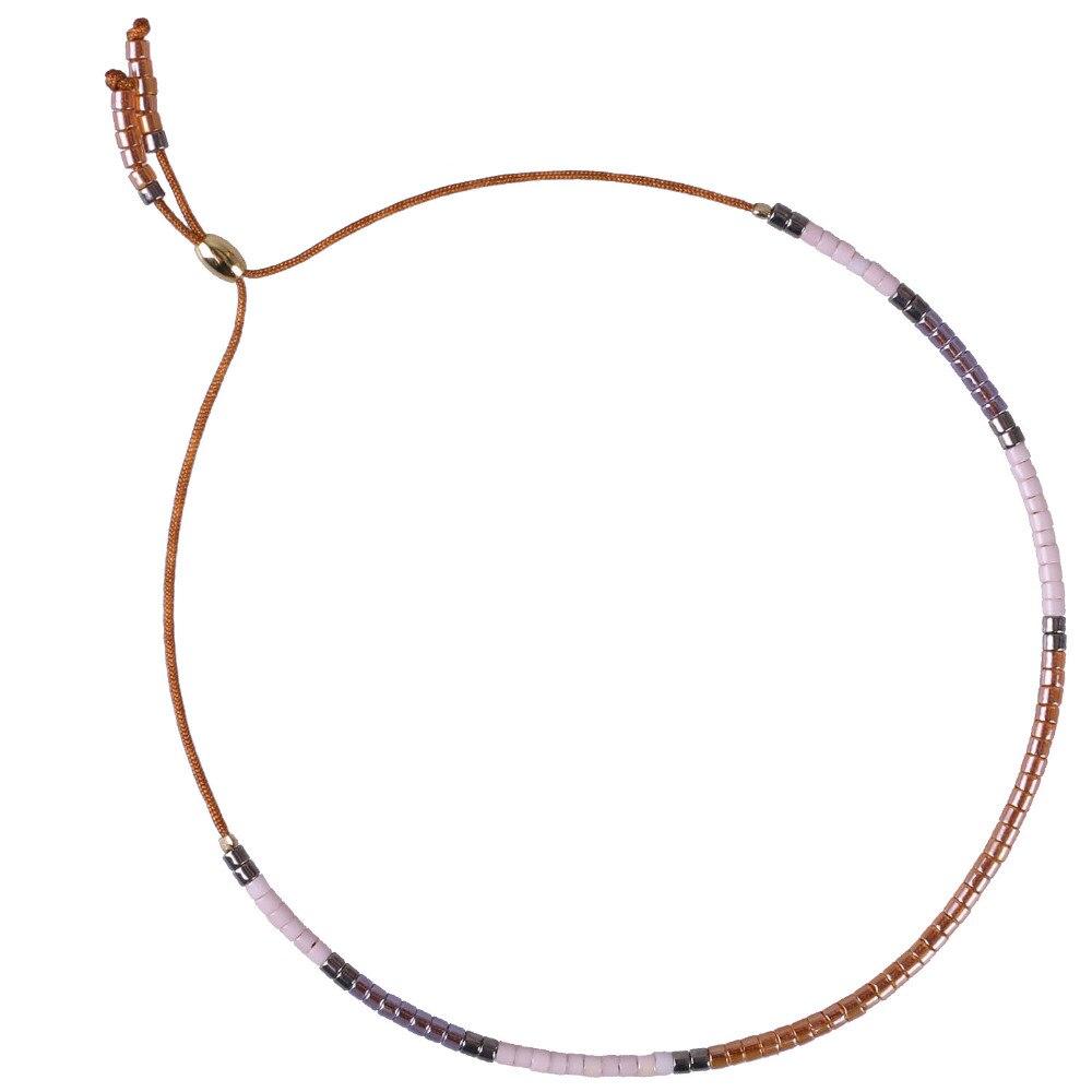 C. QUAN CHI Bijoux Brun Corde Chaîne Cristal Semences Perles Strand Bracelets Réglable Dentelle-up Charme Amitié Bracelets AZX067B