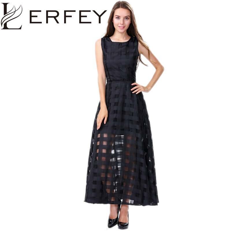 d9bcae76d38a LERFEY Vestidos Women Summer Dress Elegant Vintage Plaid White Black  Organza Dresses Sleeveless Long Beach Maxi