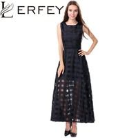 LERFEY Vestidos Women Summer Dress Elegant Vintage Plaid White Black Organza Dresses Sleeveless Long Beach Maxi Dress Sundress