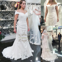 Marvelous 2019 Wedding Dress Mermaid / Trumpet Women Girl Bride Gown Bridal Party Chapel Train Lace Cap Sleeves Fit and Flare