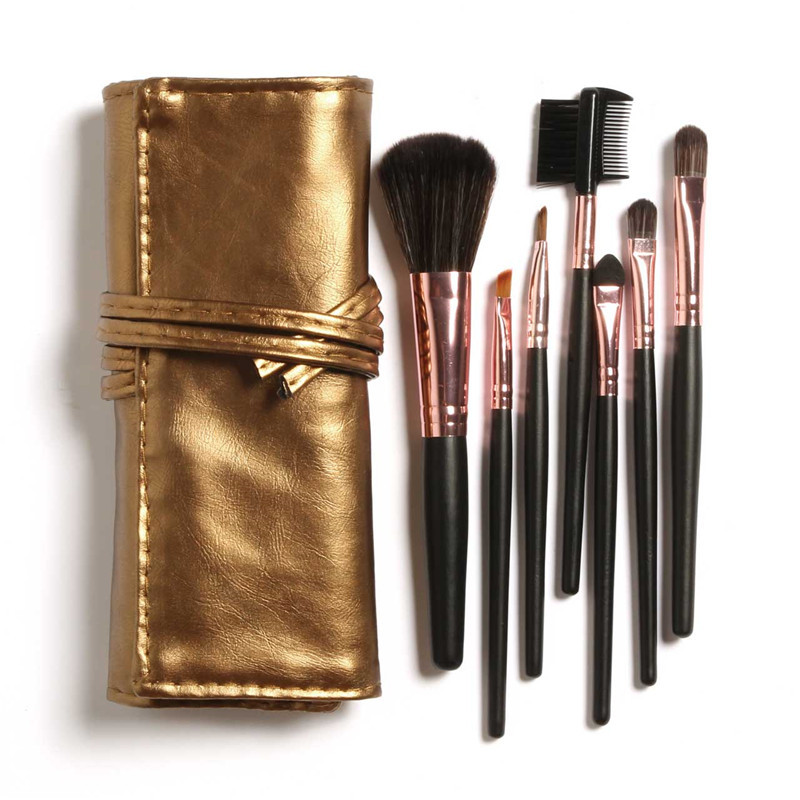 Big Discount! High Quality 7 Makeup Brush Set in Sleek Golden Leather-Like Case Portable Make up Brushes high quality 7 makeup brush set kit in sleek berry red leather bag make up portable brushes free shipping