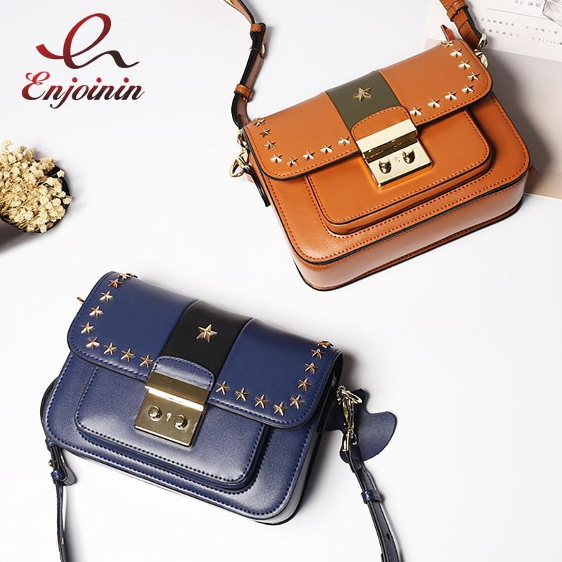 Fashion Styles Genuine Leather Design Star Rivets Canvas Shoulders Women's Shoulder Bag Handbag ladies crossbody messenger bag цена 2017