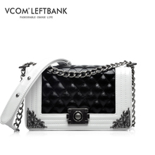 women bag famous brand genuine leather plaid handbags fashion chain black shoulder crossbody bags leisure hasp rivet clutch h04
