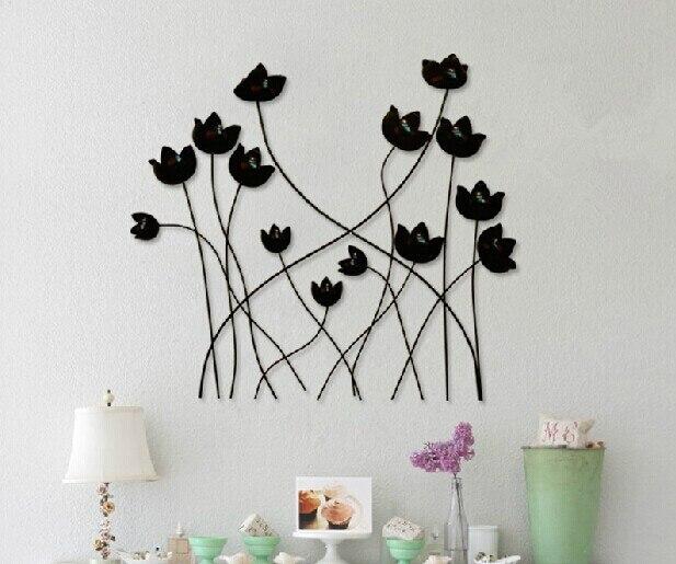 Modern Home Decoration Metal Wall Art Hand Made Black Popy Flower
