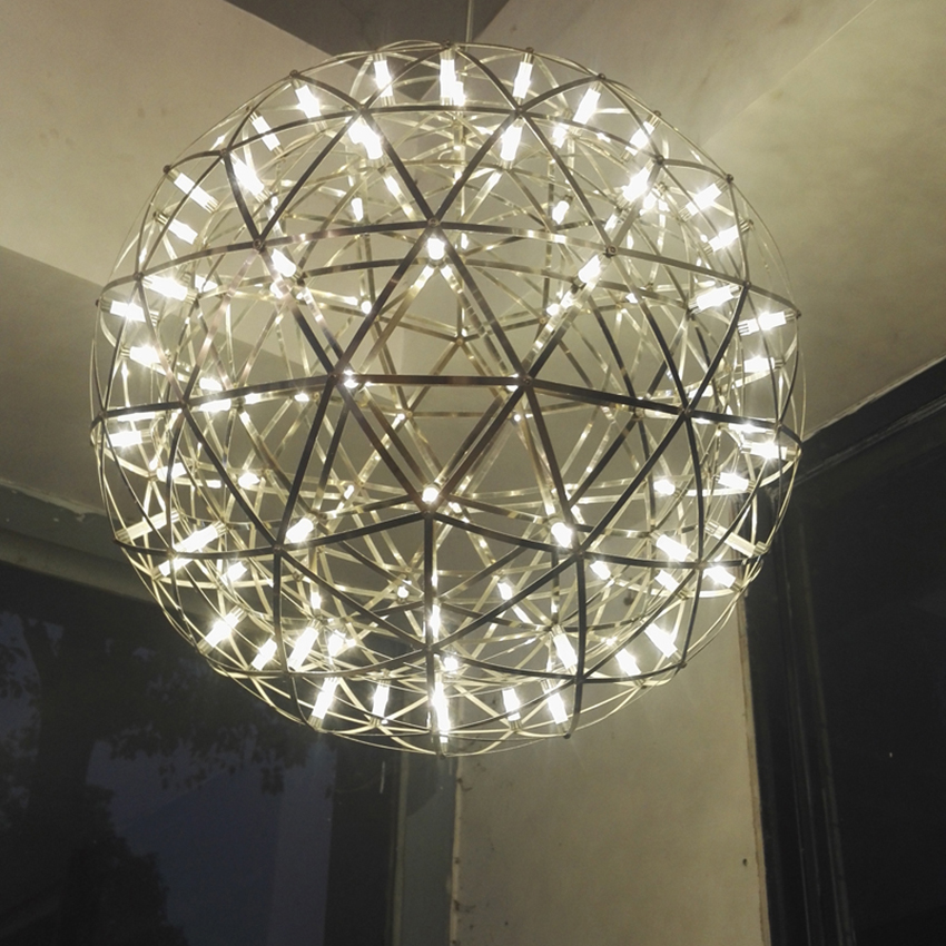 Modern Stainless Steel Circle Led Hanging Lamp Handmade Make Spark Ball Led Pendant Lights Lighting Suspension Luminaire in Pendant Lights from Lights Lighting