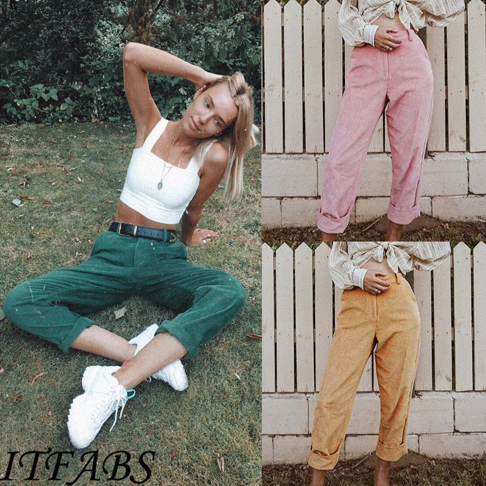 Autumn Fashion Women Ladies New High Waist   Capris   Plain Button Elastic   Pant   Long Casual   Pants   Pencil Trousers Streetwear