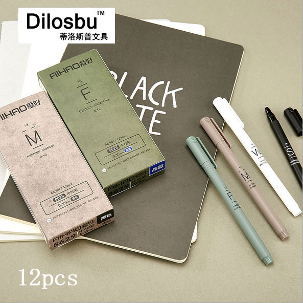 dilosbu 12 pcs /set  0.35 gel pen roller ball pens neutral pen office and school pen plastic  black/blue  pen ink gel roller ball pen black or chrome silver to choose baoer 3035 office and school signature pens free shipping