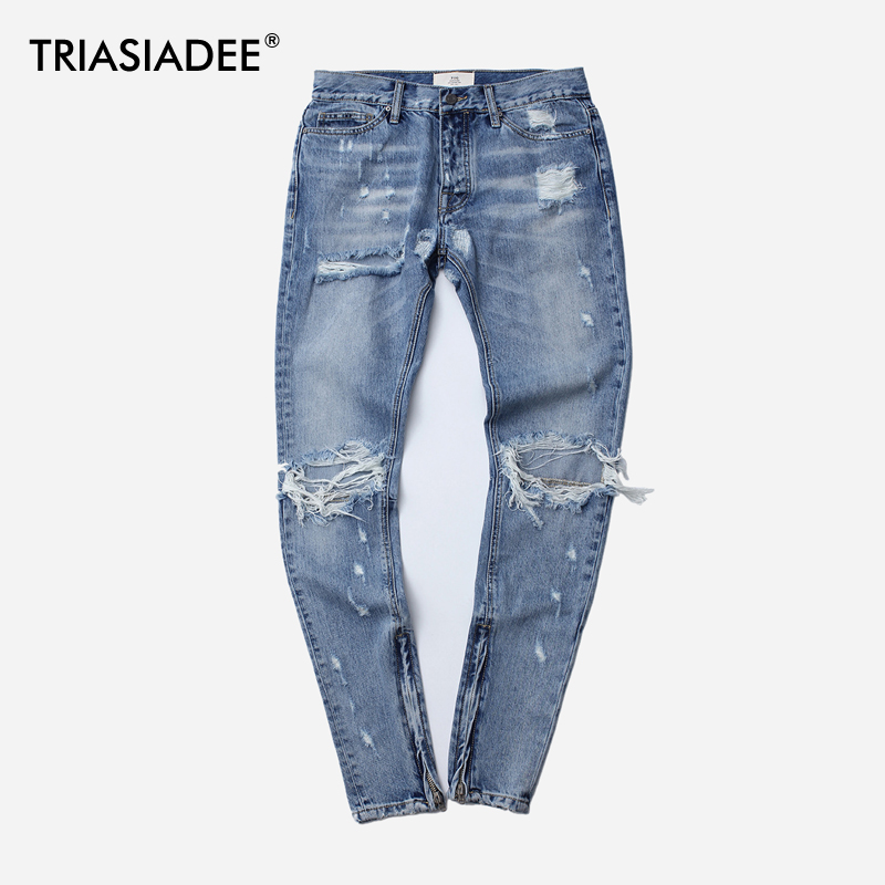TRIASIADEE Mens Fear Of God Ripped Casual Jeans Skinny Homme men jeans fear of god ripped blue mens holes leisure straight denim designer mens jeans streetwear clothing pant oversize 28 40