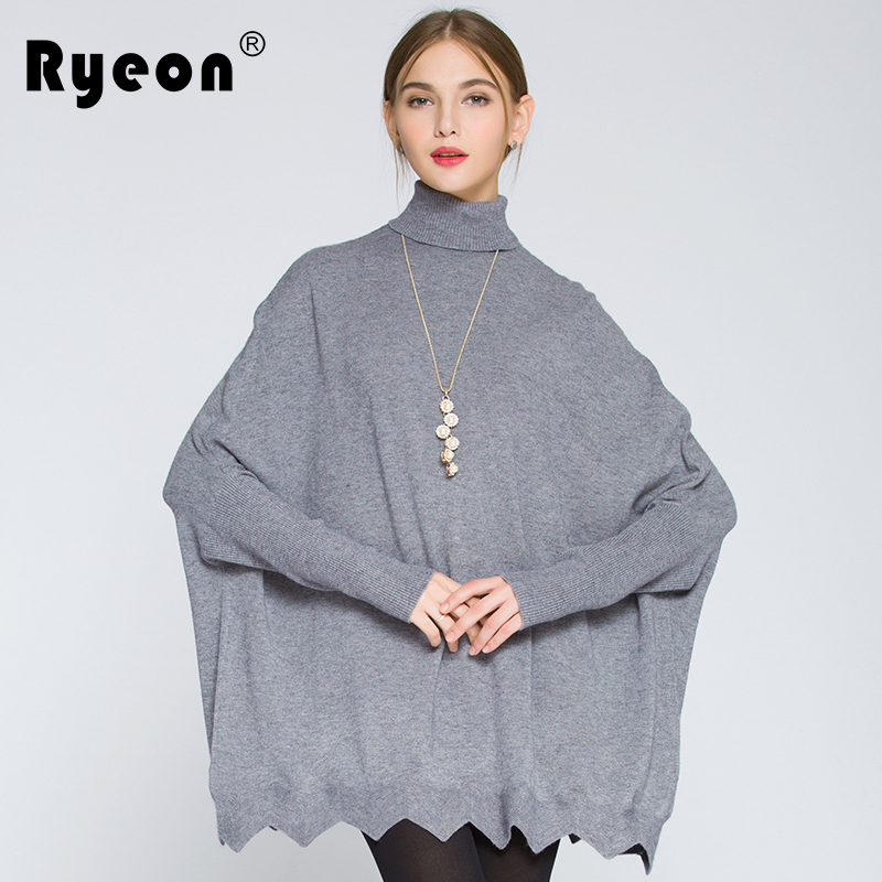 Ryeon Turtleneck Sweater Women Pullover Black Grey White Loose ...