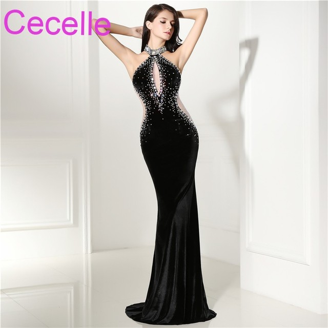 282c1aab4d1 Sexy Black Velour Mermaid Long Evening Dresses 2019 Illusion Crystals Women  Formal Evening Wear Beaded Designer Party Dress Real