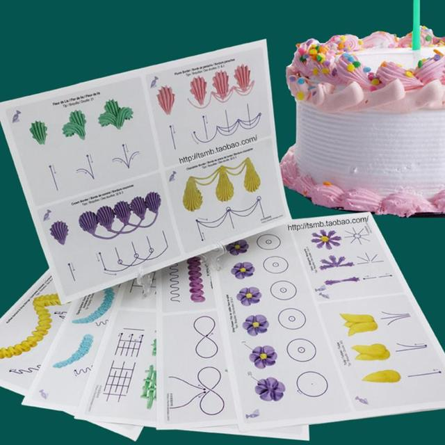 23pc Cake Practice Template Board Piping Drawing Diy Paste Teaching Paper Decorating Fondant Decor Baking Supplies