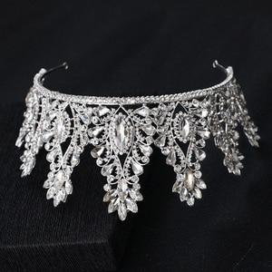 Image 4 - KMVEXO Fashion Big Drop Crystal Wedding Diadem Rhinestone Queen Tiaras And Crowns Headbands For Bride Hair Jewelry Accessories