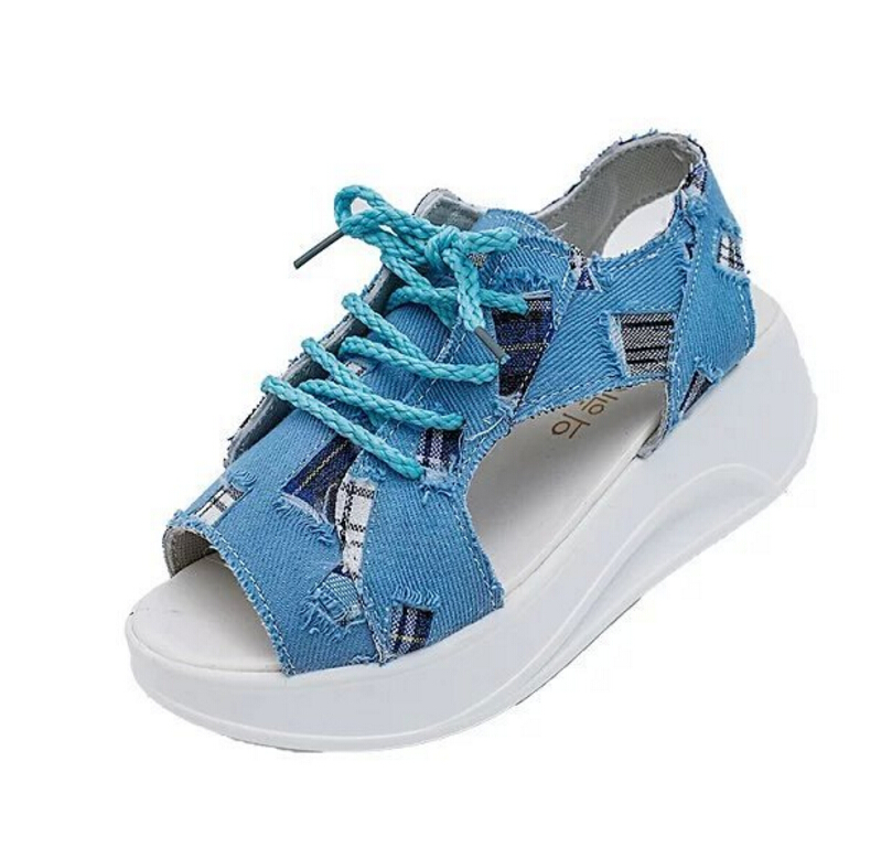 2017 Denim Wedges Sandals Lace-Up Creepers Summer Gladiator Sandal Platform Canvas Shoes Woman Peep Toe Students casual shoes nayiduyun shoes women cow suede strappy sandals roman gladiator sandals platform wedges creepers party casual shoes summer size
