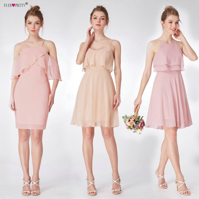 Pink Mini Bridesmaid Dresses Three Kinds One Shoulder Ever Pretty Ep03535pk Wedding Guest Dress For