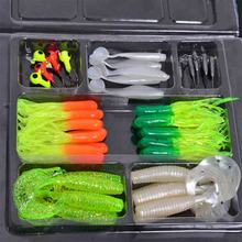Soft Worm Lure Carp Fishing Lure Set +10 Lead Head Jig Hooks Simulation Suite Soft Fishing Baits Set /35Pcs  Sent at random