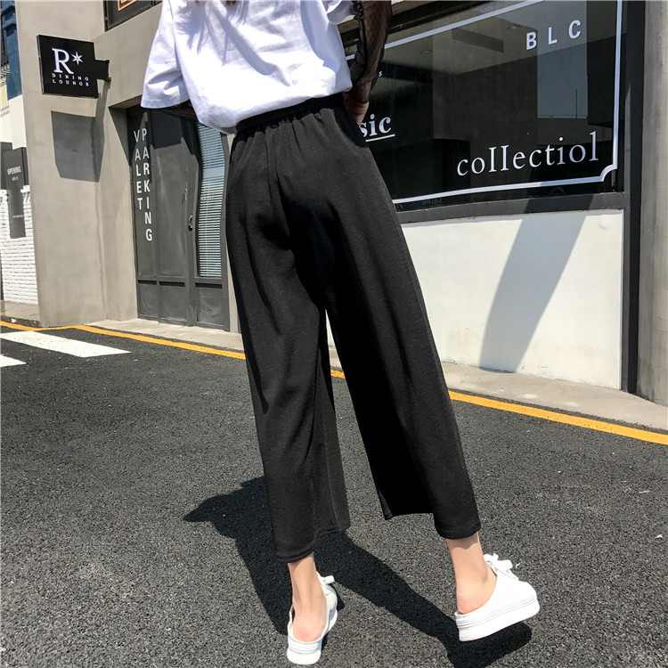 19 Women Casual Loose Wide Leg Pant Womens Elegant Fashion Preppy Style Trousers Female Pure Color Females New Palazzo Pants 36