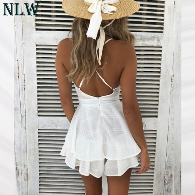 NLW White Ruffle Plaid Jumpsuits Rompers Spaghetti Strap Cross Back Bow Tie Waist Skorts Playsuit Girl Summer Beach Overalls 3