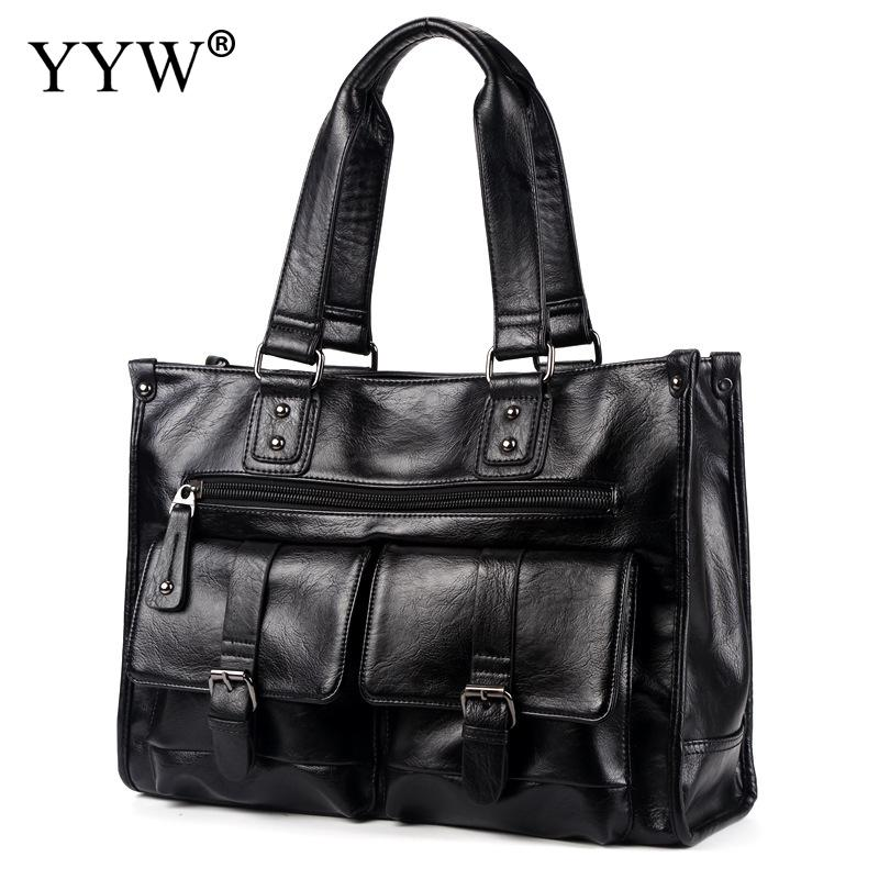 2018 Black Multifunction Men'S Executive Briefcase Business Male Laptop Bag Portfolio Tote Bags For Men Black Pu Leather Handbag