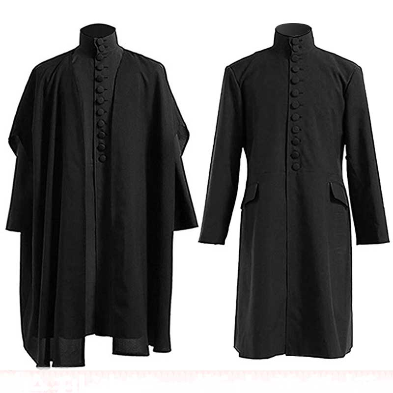Men Women Halloween Costume Professor Severus Snape Hogwarts School Cloak Deathly Hallows Magic Robe Professor Uniform