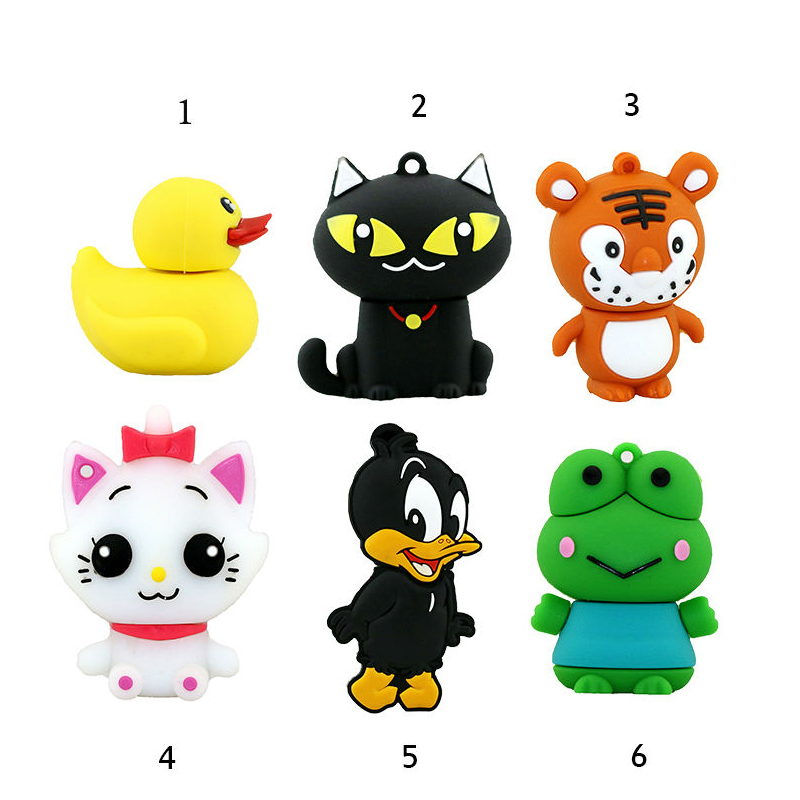 Mini Pen Drive Cartoon Black Cat Duck Gift Pen Drive 8GB 16GB Keychain Animal Tiger White Cat Usb Flash Drive Storage Pendrive
