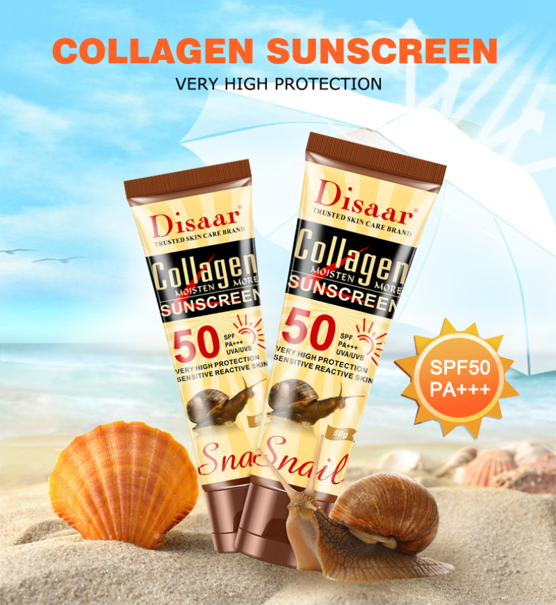 Disaar Collagen Snail Multi-effect Sunscreen Facial Body Whitening Skin Cream Oil-Control Moisturizing BB Cream SPF50+ TSLM1