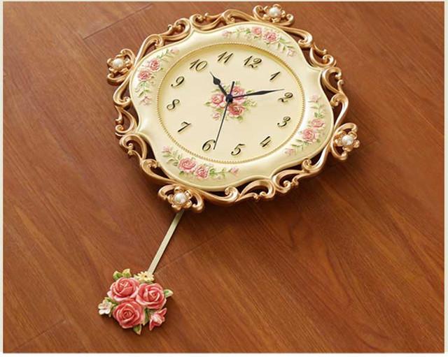 European  Retro resin Pastoral quartz clock Mute style wall clock Muted fashion rose flower round wall clock